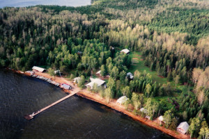 Aerial view of Sandy Beach Lodge.