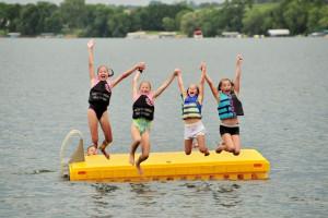 Jumping in the lake at Dickerson's Lake Florida Resort.