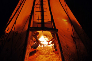 Teepee camping at Bisonquest Wildlife Vacations.