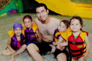 Family at waterpark at EdgeWater Resort and Waterpark.