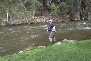 Fishing at Colorado Bear Creek Cabins.