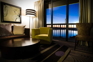 Guest room with lake view at La Torretta Lake Resort & Spa.