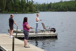 Fishing off the dock at Loon Lake Lodge.