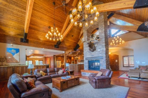 Cabin living room at Family Time Vacation Rentals.