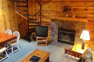 Cabin living room at Birchcliff Resort.
