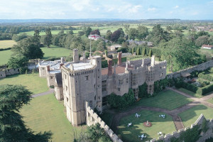 Aerial view of Thornbury Castle.