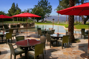 Outdoor patio at Pacific Palms Hotel & Conference Center.