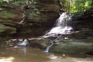 Honey Run Waterfall at Sunset Ridge Log Cabins.