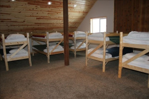 Loft and bunk beds at Fall River Lodge.