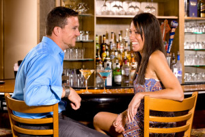 Couple at bar at Golden Arrow Lakeside Resort.