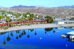 Aerial view of Cottonwood Cove Resort.