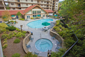 Outdoor pools at Holiday Inn Club Vacations Smoky Mountain Resort.
