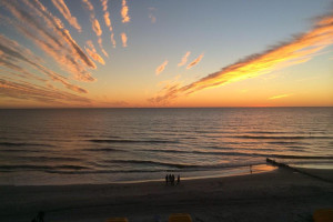 Sunrise at Shoreline Island Resort.