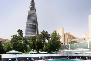 Outdoor pool at Hotel Al Khozama.