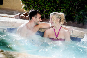 Relaxing in hot tub at Compass Cove Resort.