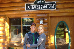 Couple at Silverwolf Log Chalet Resort.