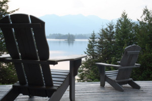 Hadley Cottage deck view at at Elk Lake Lodge.