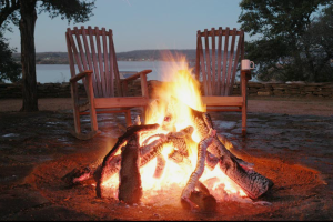 Relax by the fire at Canyon of the Eagles.