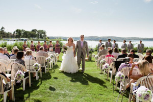Wedding couple at Madden's on Gull Lake.