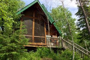 Cabin exterior at Falcon Beach Ranch.