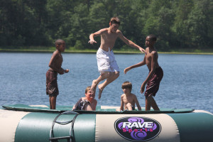Water trampoline at Heartwood Conference Center & Retreat.