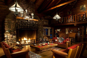 Lobby view at Averill's Flathead Lake Lodge.