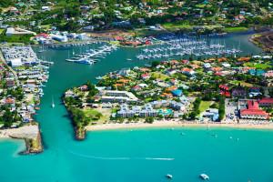 Aerial view of Rodney Bay Marina.