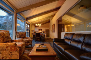 Chalet living room at Tunnel Mountain Resort.