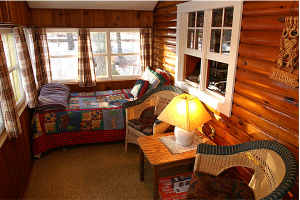 Cabin bedroom at Island View Resort.