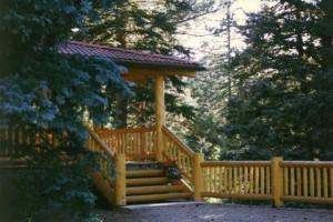 Cabin porch at Glacier Lodge.