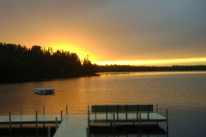 Sunset on the dock at Timber Bay Lodge & Houseboats.