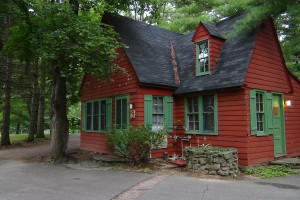Cabin exterior at Birchcliff Resort.