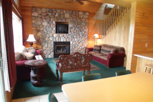 Cabin living room at Gull Lake Resort.