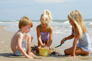 Building sandcastles at Bald Head Island.