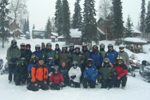 Snowmobile group at Northwoods Lodge.