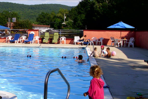 Swimming at Travelodge Lake George.