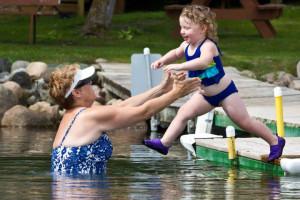 Swimming at Sand Bay Resort.