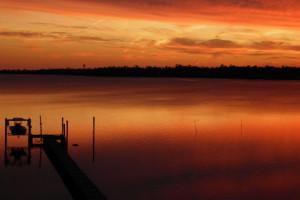Sunset at Brunswick Plantation Resort.