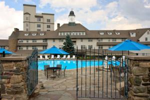 Outdoor pool at The Inn at Pocono Manor.