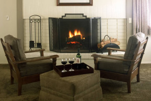 Relax by the fireplace at Smoke Tree Ranch.