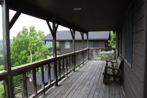 Cabin deck view at  Arkansas White River Cabins.