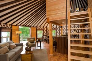 Yurt interior at Nootka Marine Adventures.