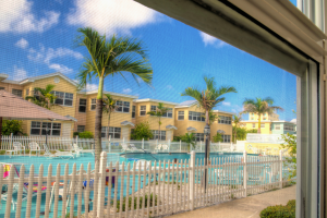 Pool view at Barefoot Beach Resort.