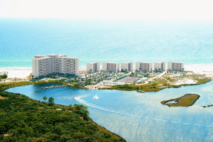 Aerial view of Pinnacle Port Vacation Rentals.