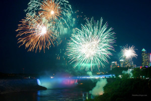 Fireworks over Niagara Falls at Cairn Croft Best Western Plus Hotel.