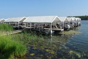 Boat marina at Moonlight Bay Resort.