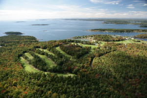 Aerial view of golf course at Sebasco Harbor Resort.