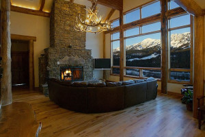 Great room fireplace at Bridger Vista Lodge.