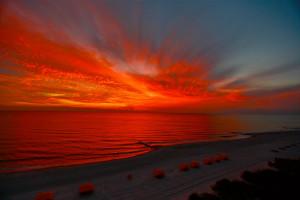 Sunset at Shoreline Island Resort.