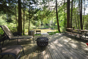 Rental patio at Visit Up North Vacation Rentals.